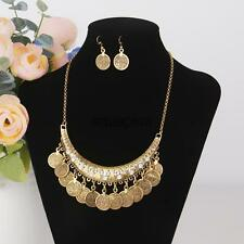Vintage Metallic Coin Earring Necklace Jewelry Set Bib Choker Party Accessory