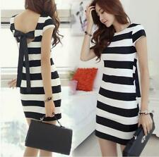 Hollow Striped Bow Dress Sexy Bow back dress Fashion Slim Black and White