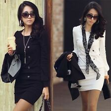 New Sleeves O Neck Asian Style Spring Office Slim Dresses Stretch Cotton Clothes