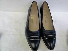 ladies pair of Salvatore Ferragamo block heels navy blue size 9 B