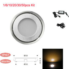 1-50pcs 58mm Stainless LED Deck Light Outdoor Garden Pathway Recessed Warm White