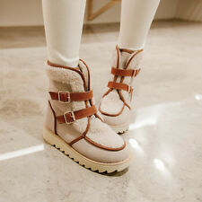Stylish Buckles Snow Ankle Boots Thick Sole Womens Thicken Warm Winter Shoes SZ