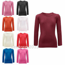 New T-shirt Tops Girls Plain Long Full Sleeve Stretch Age 2 3 5 7 9 11 13 years