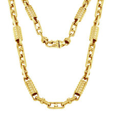 14K Gold Solid Fancy Chain Link Necklace (Available in diff. Gold Color & Sizes)