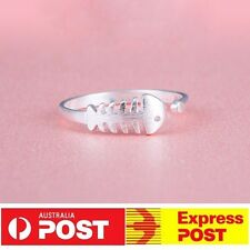 New Sterling Silver 925 Plated Cute Frosting Fish Open Ring Adjustable Gift