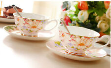 Classes Vintage Style  Fine Bone China Coffee or Tea Cup and Saucer Set