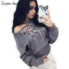 Drawstring Lace Up Winter Sweater Women Autumn Casual Ribbed Top Jumper Pullover