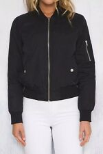 New Womens Fashion Solid Black Zip Up Bomber Flight Jacket Coat Outwear Size SML