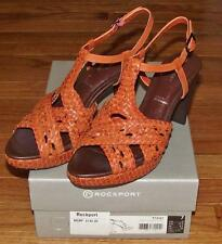 NEW NIB Rockport Womens Audry Woven Braided Leather T-Strap Platform Sandal $140