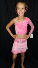 NEW Pink 2pc Midriff 1 Sequin Sleeve Top/Skirt Recital Competition Dance Costume