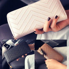 Women Solid Zipper Long Wallet Purse Clutch Bag PU Leather Card Holder HandBag