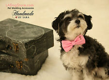Pink Dog Bow Tie collar, Bow tie attached to dog collar, Pet accessory, Handmade