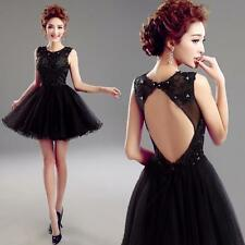 Black Short Sequin Lace Cocktail Homecoming Ball Prom Party Evening Gown UK 4-16