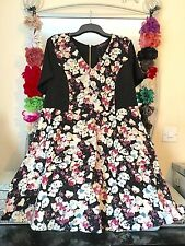 BNWT SO FABULOUS BLACK & FLORAL SILKY TEA DRESS SIZE 20/22 WEDDING PARTY