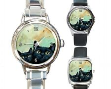 Italian Charm Metal Watch Round Square black Cat 607 green art painting L.Dumas