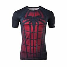 Men's Spiderman Marvel Comic Compression Tight Tee T-shirt Short Sleeve Costume