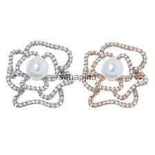 Hollow Cutout Rose Flower Diamante Crystal Rhinestone Brooches Pins Bridal Party