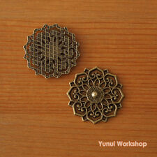 Round Floral Filigree Pattern Metal Antique Brass 31mm Dia. Ancient Style Deco