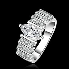 New 925 Sterling Silver AAA Oval Zircon Ring  Women's Wedding Fashion Jewelry
