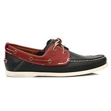Timberland Mens Casual Shoes Leather Navy Blue & Red Heritage 2 Eye Boat Lace Up