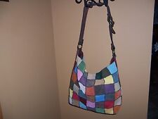 Lucky Brand Vintage Patchwork Multi Color Boho Bohemian Hippie Hobo Satchel Bag