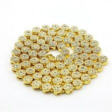 Men's Necklace 1 Row Flower Shape Gold Plated HipHop Cz MenChain Necklace Jewely