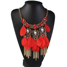 2016 New Fashion Alloy Feather Tassel Statement Women Bib Long Necklace