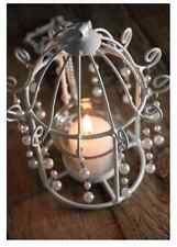 Tea Light Bird Cage Candle Holders White Pearl for Home Decorations