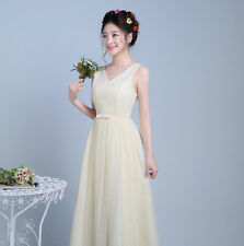 Double shoulder elastic waist slim tulle bridesmaid dress formal women dress