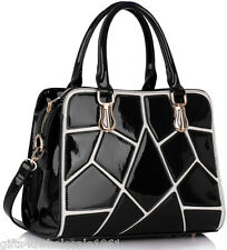 Ladies Designer Black Patent Faux Leather Grab Tote bag+River Island Free Gift