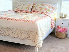 DaDa Bedding Cozy Spring Polka Dots Orange White Quilted Coverlet Bedspread Set