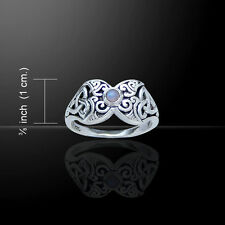 Trinity Crescent Moon .925 Sterling Silver Ring by Peter Stone