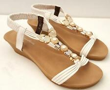 WOMENS Sz 7.8.9.10.11 Mid Wedge SANDALS Pearls Beads Low Heels White Comfy SHOES