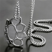 Men Silver Knuckle Duster Style Stainless Steel Charm Pendant Chain Necklace