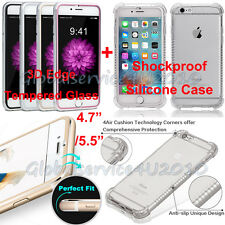 Silicone Clear Case Cover +Tempered Glass Protector For iPhone 6s/6 Plus 4.7/5.5