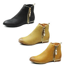 WOMENS LADIES CHELSEA STYLE ZIP UP LOW HEEL ANKLE BOOTS BOOTIES SHOES SIZE 3-8