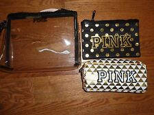 VICTORIAS SECRET PINK 3 PIECE MULTI-USE COSMETIC/MAKEUP BAGS TOTE  NWT
