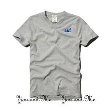 NEW ABERCROMBIE FITCH KIDS A&F Boys Classic Cotton V-Neck Tee T Shirt Grey L/XL