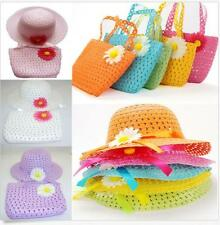 Cap And Handbag Children Lovely New Girls Flower Straw Sun Hat Baby Kids