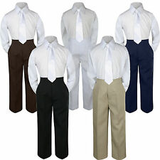 3pc Boys Baby Toddler Kids White Necktie Formal Set Uniform School Suit S-7