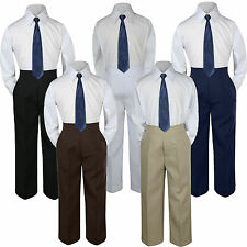 3pc Boys Baby Toddler Kids Navy Necktie Formal Set Uniform School Suit S-7