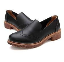 Retro Womens College Casual Oxford Wedge platform Slip on Loafer Round Toe Shoes