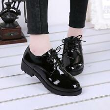Black Classic Oxfords Womens Girl Casual Round Toe Platform Lace Up Preppy Shoes