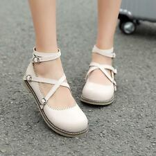 Womens Cross Strap Buckle Flat Mary Jane Lolita Lovely Round Toe Shoes All SIZE