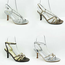 WOMENS LADIES STRAPPY DIAMANTE STILETTO HEEL ANKLE STRAP SANDALS SHOES SIZE 3-7