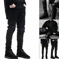 Fashion Mens Designed Straight Slim Fit Biker Jeans Pants Skinny Denim Trousers