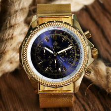 Luxury Classic Full Gold Stainless Steel Mesh Big Dial Men's Quartz Wrist Watch