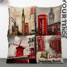 Vintage Red Phone Booth Cotton Linen Sofa Waist Pillow Case Cushion Cover 18""