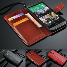 Luxury Leather Card Holder Wallet Flip Cover Stand Case Skin For HTC ONE M9 M8