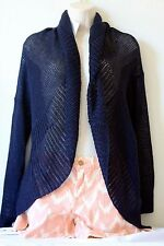 NWT $345 VINCE Coastal Blue  KNITTED LINEN CIRCLE CARDIGAN SWEATER OPEN-KNIT